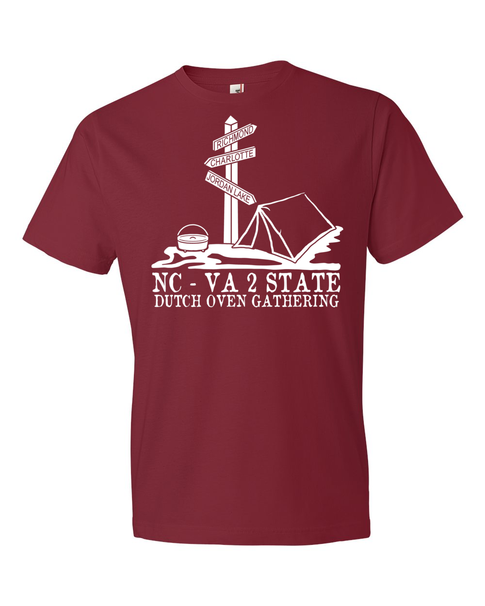 Tee shirt color chart kds graphicskds graphics this is the official logo for the nc va 2 state dutch oven gathering it is a white screen print on a caribbean blue or independence red cotton tee shirt nvjuhfo Images